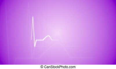 HeartBeat Cardiogram on Purple - Abstract HeartBeat...