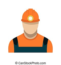 Coal miner flat icon isolated on white background