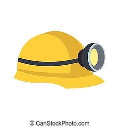 Miners helmet with lamp flat icon