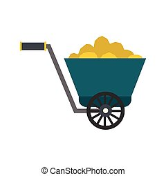 Trolley with gold ore flat icon isolated on white background