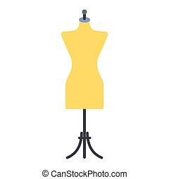 Dressmaker model flat icon isolated on white background