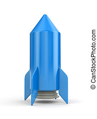 Simple blue rocket on white background