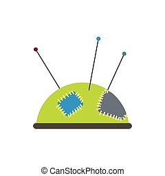 Green pincushion with pins flat icon isolated on white...