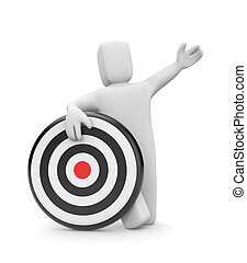 Person with target - Success concept. Isolated on white