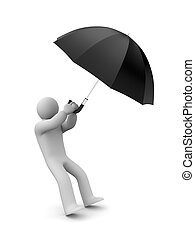 Person and umbrella - Autumn concept Isolated on white
