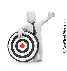 Businessman with target - Business concept. Isolated on...
