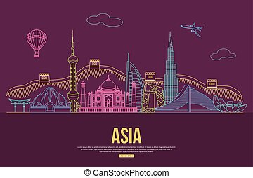Asia travel background with place for text. Isolated Asian outlined sightseeings and symbols. Skyline detailed silhouettes.