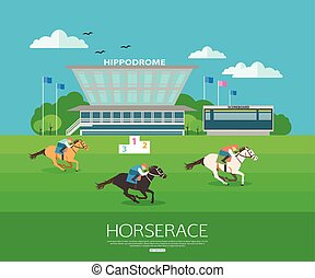 Horserace backgroung with place for text. Flat style design....