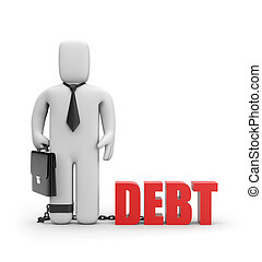 Debt - Business concept Isolated on white