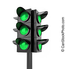 Traffic light All Green - Success concept Isolated on white...