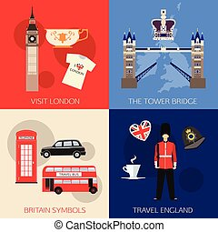 Set of England travel compositions with place for text. Visit London, The Tower Bridge, Britain Symbols, Travel England. Set of colorful flat icons for your design.