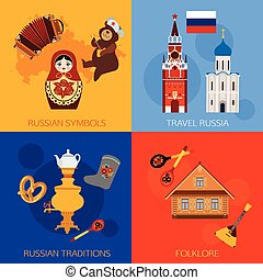 Set of Russia travel compositions with place for text...