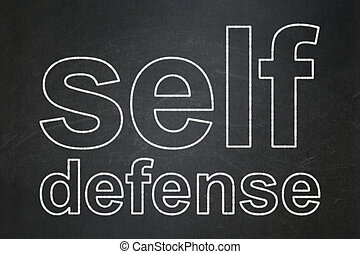 Privacy concept: Self Defense on chalkboard background -...