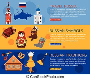 Set of Russia travel horizontal banners with place for text...