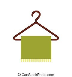Green scarf on coat-hanger flat icon
