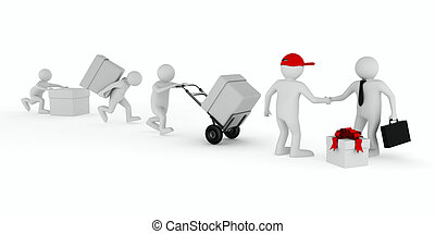 Goods delivery on white background Isolated 3D image