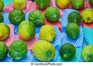 Funeral citron fruit - Etrog laid out for sale - The...