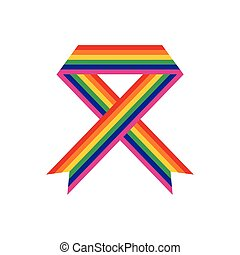 Rainbow ribbon flat icon