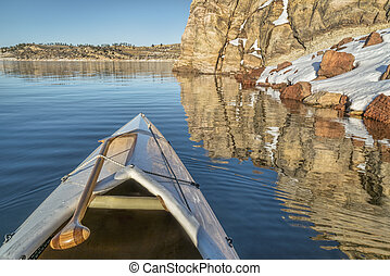 canoe bow with a paddle