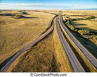 高速道路, 草原,  colorado