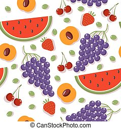 Seamless Patterns with Different Berries and Fruits: Cherry, Apricot, Strawberry, Watermelon and Grapes
