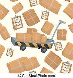 Seamless Pattern with Boxes and Containers for Delivery