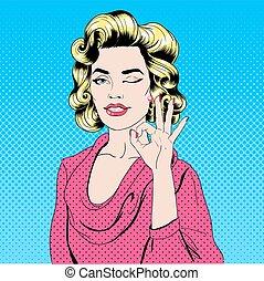 Pop Art Style Girl Gesturing Okay