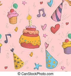 Happy Birthday Seamless Pattern with Cake, Cupcakes and Hats for Children Party
