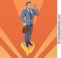 Businessman in Pop Art Style Star Up Concept. Business...