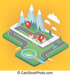 Mobile Navigation Isometric Concept with Smart Phone