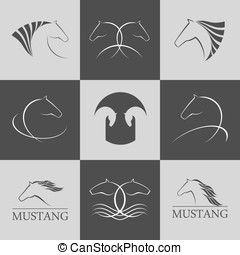 Horse logo vector set premium design