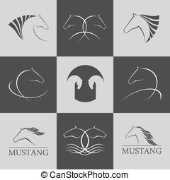 Horse logo vector set premium design