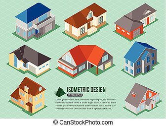 Set of 3d isometric private house icons for map building