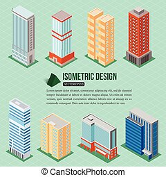 Set of 3d isometric tall buildings icons for map building