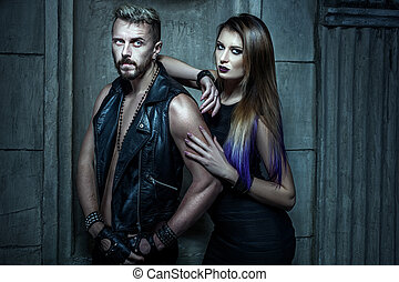 Male and female gangsters. - Portrait of men and women...