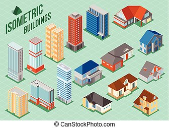 Set of 3d isometric private houses and tall buildings icons for map building