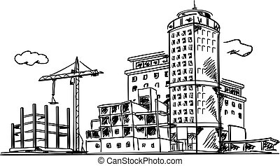 City construction sketch - Line drawing of built and under...