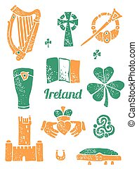 Symbol of Ireland set in lino style - Symbol of Ireland...
