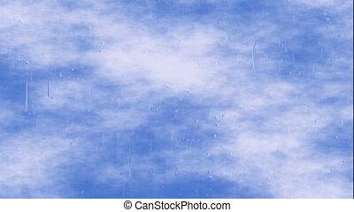 blue sky clouds through transparent rainy window