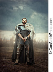 Knight with sword in a field. - The courageous knight...