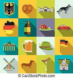 Germany flat icons set for web and mobile devices