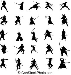 Samurai warriors silhouette set