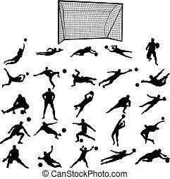 Soccer goalkeeper silhouette set
