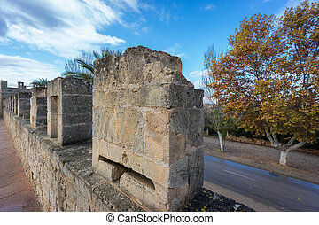 Alcudia top of the wall - Walking over top of the wall in...