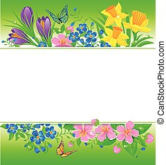 Flowers background - Spring composition with flowers and...