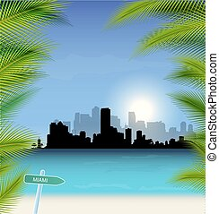 Miami vector Skyline - Miami vector Illustration with...