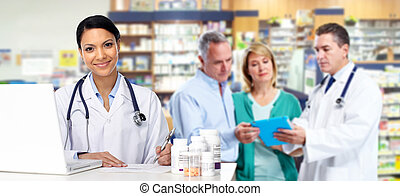 Asian Doctor woman with pills. - Asian Doctor hands with...
