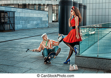 Old Grandpa fell off a skateboard The girl was frightened...