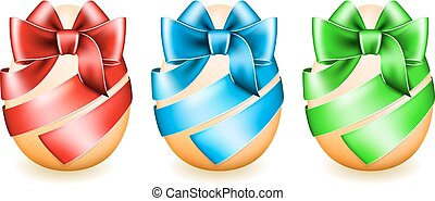 Easter eggs wrapped in ribbon