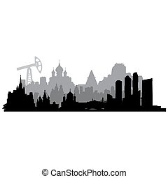 Russia vector silhouette - Russia cities silhouette with oil...